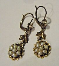LOVELY VICTORIAN 10K ROSE GOLD EARRINGS BAROQUE SEED PEARL DROPS LEVERBACK 2.4G