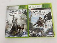 Assassin's Creed Lot of 2 Games Xbox 360 III 3 and IV 4 Black Flag Tested!