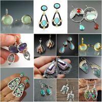 925 Silver Moonstone Amethyst Turquoise Opal Ear Hook Stud Dangle Drop Earrings