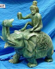 """22"""" GREEN JADE MONKEY RIDING ELEPHANT (W29) - ONLY ONE- RARE & UNIQUE"""