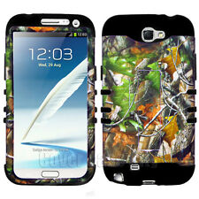 For Samsung Galaxy Note II 2 N7100 Hybrid Cover Case Green Leaves Camo w/ Black