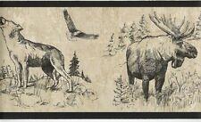 Western Roundup Wallpaper Border / Moose Buffalo Wolf