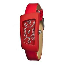Crayo Cr0404 Angles Red Band Date Red Dial Silver Hands Women's Watch