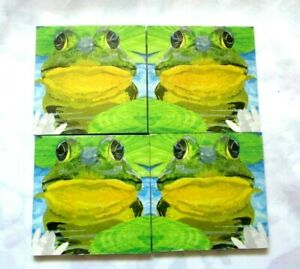 ~ MDF Coaster Set ~ Colourful Frogs ~ Set of Four ~ Cork Backing ~