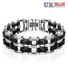 High Quality Men's Stainless Steel Bike Chain Bracelet Motorbike Bicycle 21cm UK