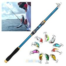 Blue Fishing Rod Ultralight Carbon Fiber Telescopic Sea Spinning Pole+10 Lures