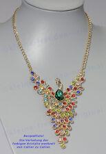 Halskette Statement Collier Pfau mit Kristallglas vergoldet Geschenk 02384