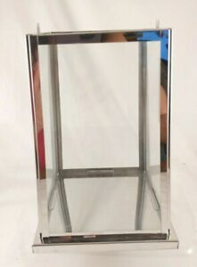 """Silver Metal & Glass Tapered Square Candle Lantern Mirror Base 10"""" INCOMPLETE"""