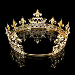 Men's Imperial Medieval Fleur De Lis Gold King Crown 8.5cm High 18-22cm Diameter