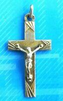 #3042# Ancienne insigne Croix Crucifix/bijoux religieux catholique/ Argent