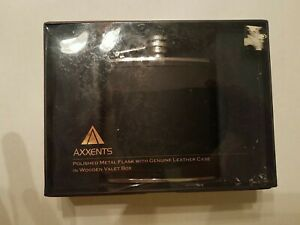 Axxents Metal Flask With Genuine Leather Case In Wooden Valet Box. Brand New!