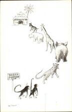 Hetty Edelkoort Monkeys Hippo Giraffe DIEREN PENSION Postcard