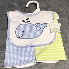 Nursery Rhyme baby boy bib set 2 burp cloths seersucker whale chevron 3 pc set