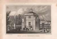 1829 ANTIQUE PRINT-SHEPHERD - LONDON -WEST GATE , REGENT'S PARK
