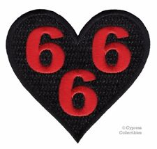 666 HEART iron-on BIKER PATCH MOTORCYCLE EMBROIDERED BLACK EMBLEM DEVIL EVIL new