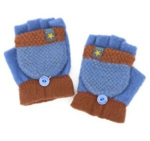 Kids Toddler Winter Warm Knitted Mittens Boys Girls Cute Flip Top Gloves