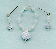 BARBIE DOLL JEWELRY -  BLUE LARGE FLOWER FOR CHRISTMAS  - NECKLACE & EARRING SET