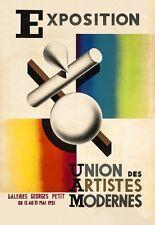 FRENCH BAUHAUS STYLE 1930'S MODERN ARTISTS EXHIBITION ART POSTER A3 REPRINT
