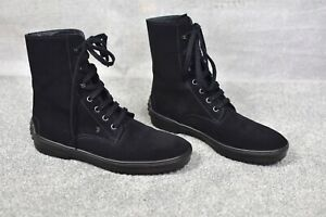 TOD'S Designer black suede leather lace up winter boots 40 7
