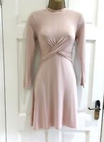 TOPSHOP Nude Twist Knot Waist Skater Party Fit Flare Dress Size 4 8 10 12 14 16