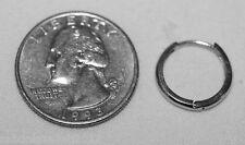 "15.5mm Classic Mens 1/2(Half) Pair Solid 14K White Gold Single Hoop Earring 5/8"""