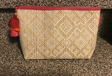 New Sephora Sun Safety Makeup Case Pouch Bag Rattan Pink Tag Poms Only Pouch