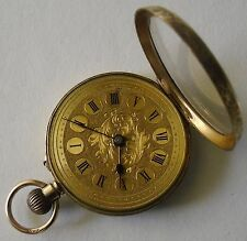 9ct Gold Pocket Watch Fob Watch Working / Oro de 9ct Reloj de Bolsillo Funciona