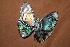 Butterfly Pin Brooch Swirled Enamel Clear Crystals Silvertone Free Shipping