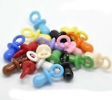 **  CLEARANCE ** 25 MIXED ACRYLIC BABY DUMMY/PACIFIER CHARMS 31MM X 15MM  (AC19)