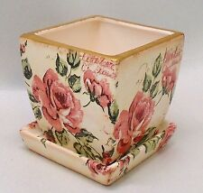 """Handmade Square Decoupage Indoor Flower Pot, Vintage Pink Roses, Shabby Chic, 4"""""""