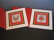 ArtisticTile Handpainted Embellished Neck Pieces Framed Matted Set of 2 Pictures
