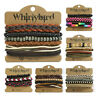 Unisex Whirlybird Stacker Leather Bracelet Surf Multi Row Layer Stack Wristband