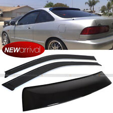 Fit 94-01 Integra 3DR 2Pcs Window Visor + 1 Rear Roof Visor Spoiler Wing Combo