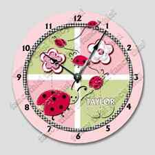 Wall Clock LADY BUG Custom Personalized Name Nursery Room decor - 7429_FT