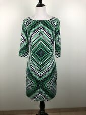 2f2311c7858 Banana Republic Women s Dress Green Geometric 3 4 Sleeve Sheath Size 0