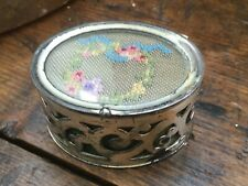 Antique Vintage Jewelry Ring Trinket Box Silver Tone Metal Petit Point Top