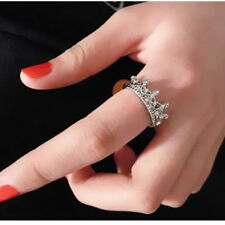 US STOCK Princess Women Girl Silver Rhinestone Crown Statement Ring Size 8 Hot