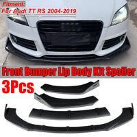 For Audi TT RS 2004-2019 Carbon Black Front Bumper Lip Body Spoiler Splitter