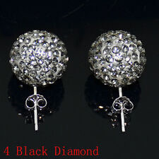 1Pair Czech Crystal Disco Ball Stud Silver Charm Earrings 6mm 8mm 10mm 12mm 14mm