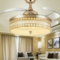 """42""""Luxury Gold Remote Invisible Ceiling Fan Light Crystal LED Chandelier Fixture"""