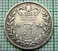 GREAT BRITAIN QUEEN VICTORIA 1874 3 PENCE THREEPENCE, SILVER