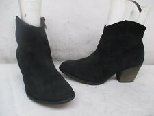Office London Black Suede Leather Zip Heel Ankle Boot Size 38 EUR Made in Spain