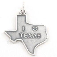TEXAS Charm Pendant state HEART Sterling Silver I LOVE TEXAS charm 925 .925
