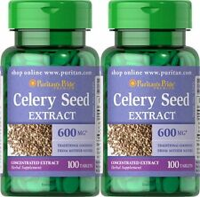 2X Celery Seed Extract 600 mg x 100 ( 200 ) Tablets Puritan's Pride