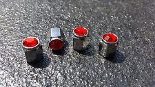 Rojo Polvo Tapas De Válvula Del Neumático De Aleación Mini Fiat Vw Audi Bmw Ford Porsche Ferrari Toyota