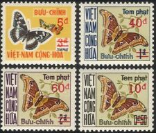 Viet Nam/Vietnam 1974 Butterflies/Insects/Postage Due/Surcharge 4v set (n25132)