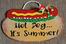 Hot Dog It'S Summer Sign Wall Plaque Camper Camping Camp Patio Deck Backyard