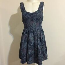 Topshop Wal G7 Dress Floral Blue Purple Print Rouched Bow Flowly Mini Sweetheart
