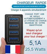 Chargeur USB Rapide 4 ports - 25W [expédition 24h]