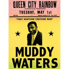 Music Concert Advert Muddy Waters Legend Blues USA Art Canvas Print